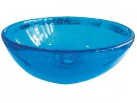 琉球ガラス 洗面ボウル 潮騒 水色 横
