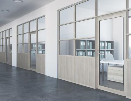 丁番ドア+木製パネル+FIX窓 LIXIL インショップフロント サッシ