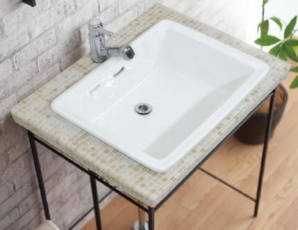 洗面器レクタングルL+タイル洗面台